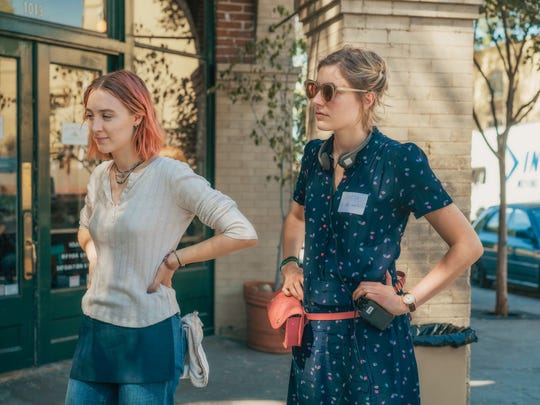 "Director Greta Gerwig, right, and Saoirse Ronan on the set of ""Lady Bird."""