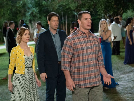 "Leslie Mann, Ike Barinholtz and John Cena in a scene from ""Blockers."""
