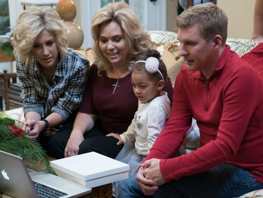 From left to right, Savannah, Julie, Chloe and Todd Chrisley of the USA Network reality show 'Chrisley Knows Best' in their Belle Meade home in Nashville.