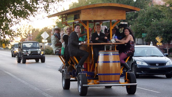 A Green Bay City Council committee is working on a proposal calling for a downtown pedal pub. This is the Nashville Pedal Tavern  in Nashville, Tenn., on Aug. 27, 2010.
