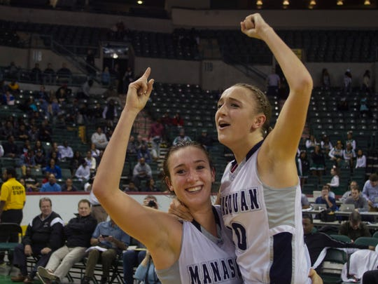 Manasquan sisters Marina and Dara Mabrey celebrate their Tournament of Champions victory over St Rose at Sun National Bank Center in Trenton.
