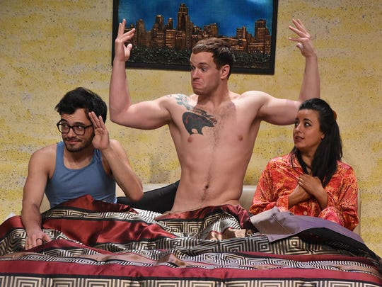 """Nearly Nake Theatre's """"Threesome"""" stars (from left) Dylan Kim, Bernhard Connor Verhoeven and Jenny Cohen-Sanchez."""