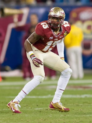 Florida State defensive back Jalen Ramsey (13) lines up against Duke during the fourth quarter of the ACC Championship Game at Bank of America Stadium.