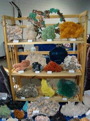 Display at a past year's Gem, Mineral and Fossil show.