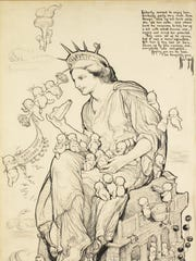 """""""The Kewpies and Liberty's Birthday"""" was made by Rose O'Neill in 1918. The pen-and-ink drawing on paper is part of the collection of Susan Wilson and was published in Good Housekeeping magazine."""