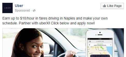 Uber is hiring drivers to work in the Fort Myers-Naples area, according to a Facebook ad the company recently started running.