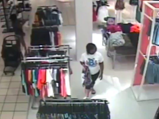 Shoplifting suspect is seen on JC Penney surveillance video.