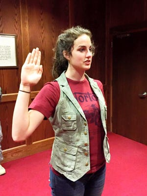 Mackenzie Clarke, 18, Damascus, became the first female combat engineer (12B) to enlist in the Army National Guard.