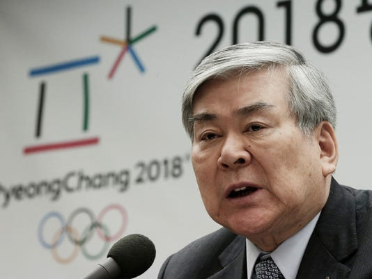 FILE - In this Feb. 3, 2016, file photo, Cho Yang-ho, president of the Pyeongchang 2018 Winter Olympics Organizing Committee, speaks during a press conference about the alpine skiing test event for the 2018 Pyeongchang Olympics in Jeongseon, at the Press Center in Seoul, South Korea. Cho quit on Tuesday, May 3, 2016, amid escalating financial troubles at the business group his family controls. (AP Photo/Ahn Young-joon. File)