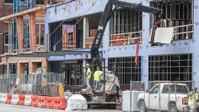Hyatt hotel project at the corner of South Pennsylvania and East Georgia streets in downtown Indianapolis on Friday, Aug. 17, 2018. The plan calls  for a 15-story, 316-room hotel combining Hyatt's Hyatt Place and Hyatt House brands.