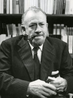 "John Steinbeck is pictured in the early 1960s, the era in which he not only wrote and published the fun and infectious travelogue ""Travels With Charley in Search of America"" but also received a Nobel Prize."