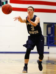 Piedra Vista's Brady Brown passes the ball against Bloomfield on Jan. 5 at Bobcat Gym in Bloomfield.
