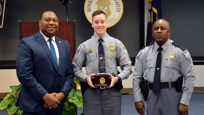 Trooper Stevi J. Price is the first female to win the South Carolina Department of Public Safety's Trooper of the Year award.