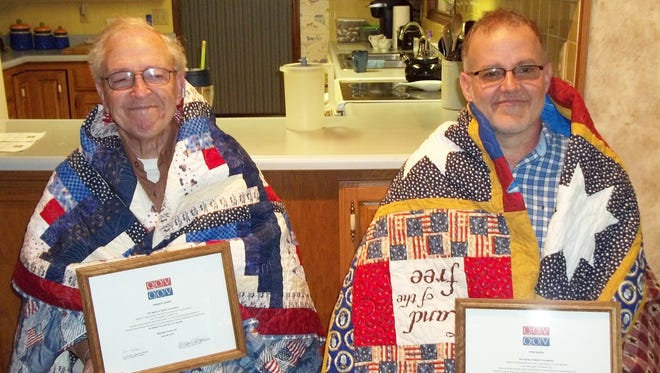 Dennis Queen and Evan Queen, both US Air Force veterans were recently awarded Quilts of Valor by Mountain Home Quilts of Valor. Dennis was an aircraft mechanic in Korea, and Evan, also an aircraft mechanic, later trained as a physical therapist. Evan retired from the Air Force in 2002 after 20 years.
