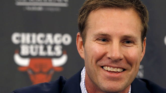 New Chicago Bulls coach Fred Hoiberg smiles during a news conference where he was introduced by general manager Gar Forman on Tuesday in Chicago.