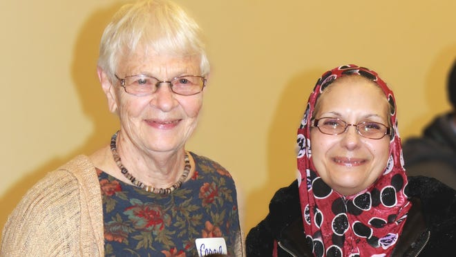 Sr. Caryl Hartjes, left, Congregation of Sisters of St. Agnes, and Dr. Maria Saleh served as facilitators for the second series of gatherings in the Muslim-Christian Dialogs held in 2012-13.