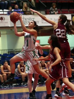 Irvington's Lindsay Chafizadeh drives to the basket against Harrison during the showcase game in the Slam Dunk Tournament at the Westchester County Center in White Plains on Saturday. Irvington won the game 57-55.