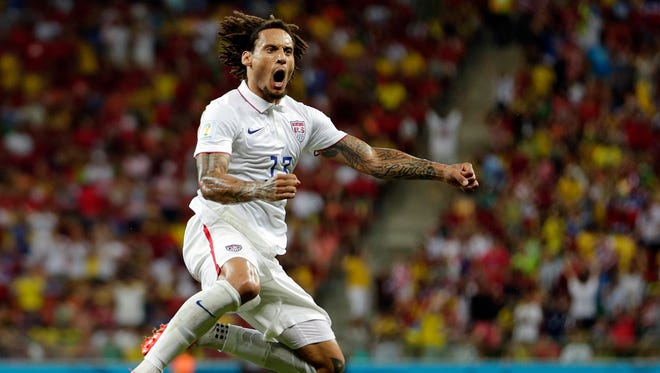 United States' Jermaine Jones celebrates after scoring his side's first goal during the group G World Cup soccer match between the United States and Portugal at the Arena da Amazonia in Manaus, Brazil, Sunday, June 22, 2014.