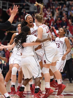 Stanford celebrates its victory against Connecticut.