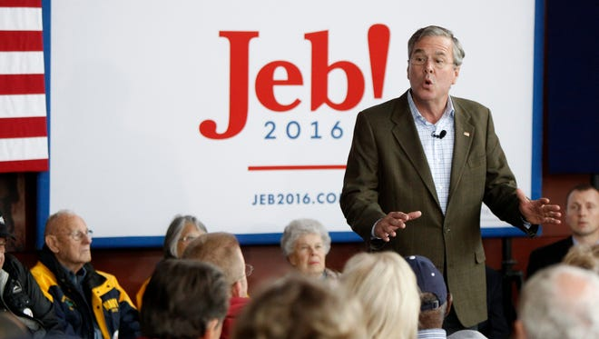 Jeb Bush speaks at the Sullivan Brothers Iowa Veterans Museum during a campaign stop on Dec. 1, 2015, in Waterloo, Iowa.