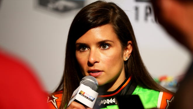 NASCAR Sprint Cup Series driver Danica Patrick speaks to the media during the 2015 NASCAR Media Day at Daytona International Speedway on February 12, 2015.