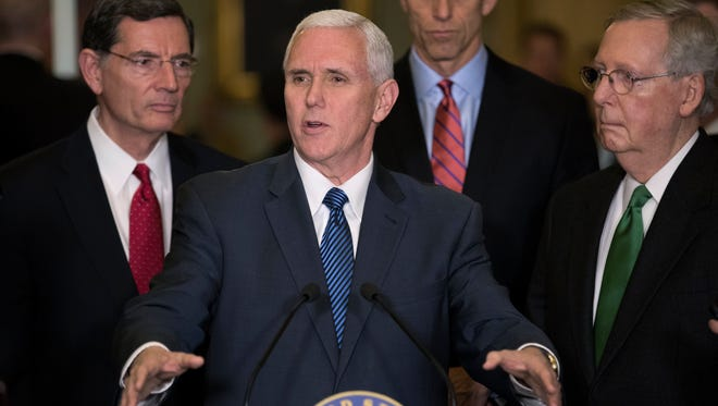 Vice President Pence delivers remarks on the American Health Care Act to the news media after attending the Senate Republican policy luncheon on March 7, 2017.