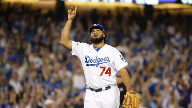 Los Angeles Dodgers' Kenley Jansen reacts after their 8-5 win over the Arizona Diamondbacks in Game 2 of the NLDS on Saturday, Oct. 7, 2017 at Dodger Stadium in Los Angeles, California.