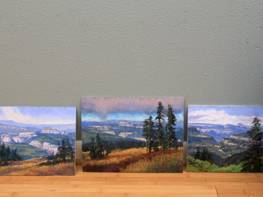 These studies of the view from Blowhard Mountain on the Markagunt Plateau show artist Arlene Braithwaite's process of getting a feel for the scene on location before she attempts a larger work in her studio.