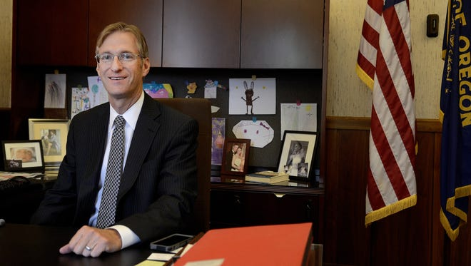 Oregon State Treasurer Ted Wheeler in his office at the Capitol Building