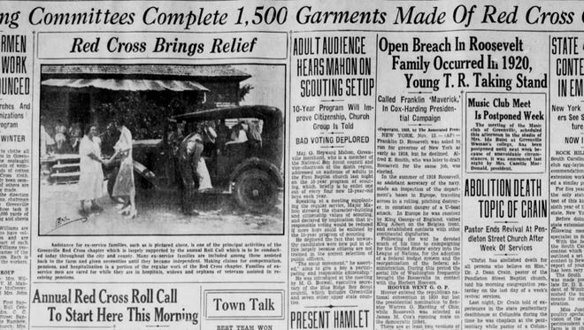 A newspaper clipping from The Greenville News on Nov. 14, 1932.
