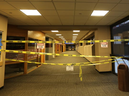 Parts of the skywalk are closed after the fire in the former Younkers building in 2014.