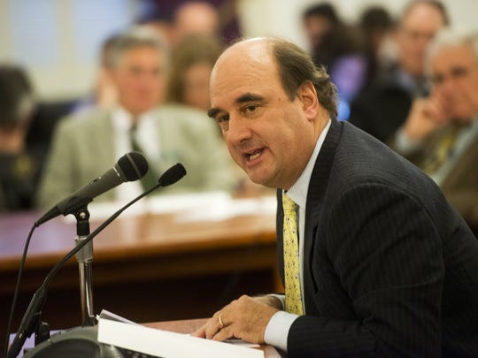 Skip Vallee, CEO of R.L. Vallee, Inc., testifies in 2013 at the Statehouse on gas prices in Vermont. The Vermont Supreme Court turned aside his attempt to prevent Costco from installing gas pumps at its warehouse store in Colchester, near a gas station Vallee owns.