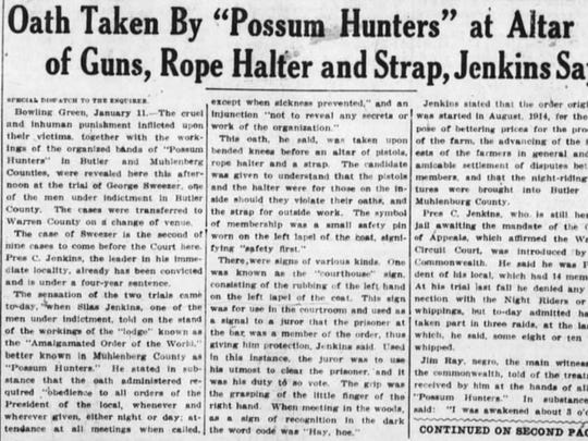 A story from the Jan. 12, 1916 edition of the Cincinnati Enquirer.
