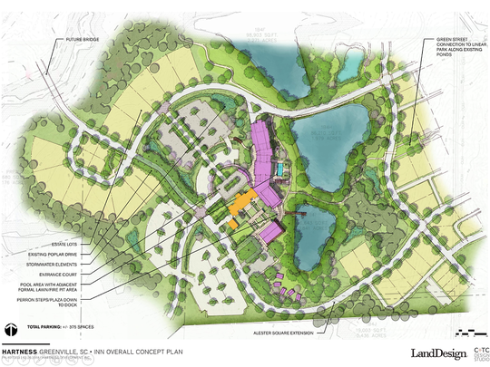 This preliminary site plan of a proposed inn and event center at the Hartness development off State 14 on Greenville County's east side shows the Hartness family's existing home, in orange, and proposed new construction, in purple. The seven-acre property will have a spa, restaurant, meeting space and about 80 rooms, including a handful of cottages.