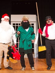 """Rehearsing for the Hartland Players Main Stage production of """"Every Christmas Story Ever Told (And Then Some!)"""" are, from left, Kevin Whitehead as """"Santa,"""" Dennis Hubel as """"Yukon Cornelius"""" and Bill Brezina as """"Frosty."""""""