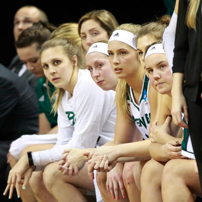 Players on the UWGB bench watch as the seconds tick