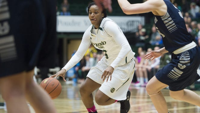 Keyora Wharry, shown in a game earlier this season, led CSU with 15 points in a 49-48 win at New Mexico on Wednesday.