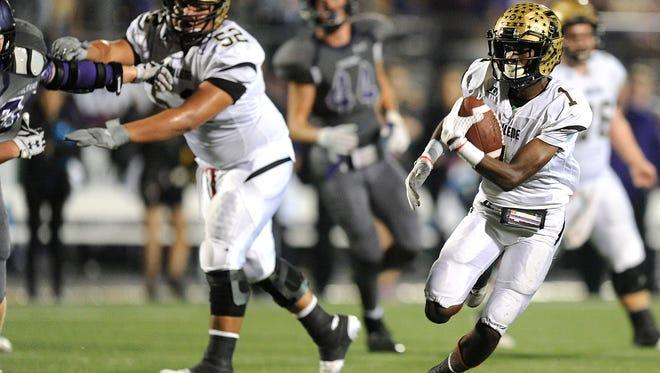 Abilene High wide receiver Raekwon Millsap (1) runs the ball during the fourth quarter of the Eagles' 56-31 win on Thursday, Nov. 3, 2016, at Keller Athletic Complex.