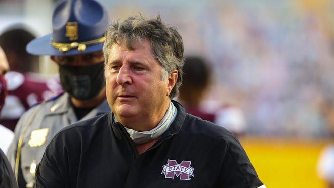 Sep 26, 2020; Baton Rouge, Louisiana, USA; Mississippi State Bulldogs head coach Mike Leach following a 44-34 win against the LSU Tigers at Tiger Stadium. Mandatory Credit: Derick E. Hingle-USA TODAY Sports
