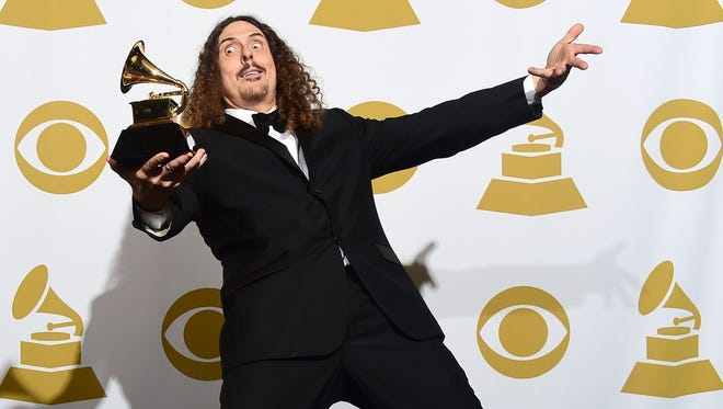 "'Weird Al"" Yankovic after winning Best Comedy Album for ""Mandatory Fun"" during the 57th annual Grammy Awards in Los Angeles last year."