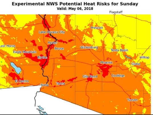 Heat risks for May 6
