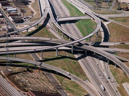 The interchange of I-20 (Interstate 20) and I- 49 (Interstate 49)