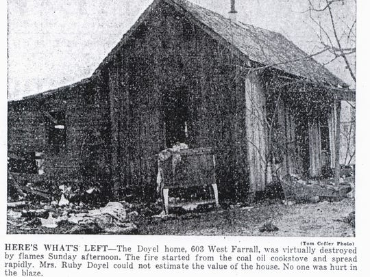 This 1949 article details the fire that destroyed the
