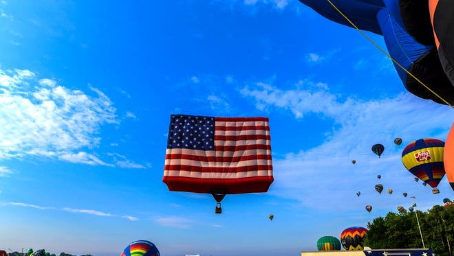 The five-story-tall PNC American Flag balloon, the largest free-flying flag in the world.