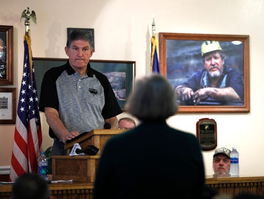 West Virginia Democratic Sen. Joe Manchin meets with