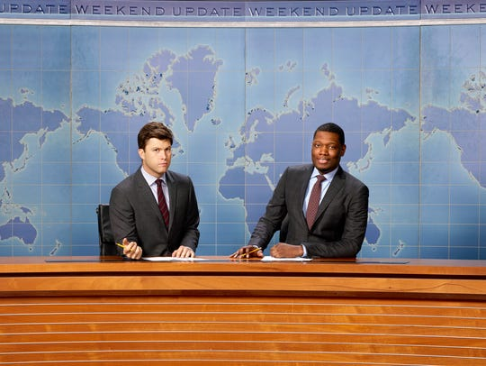 "Colin Jost (left) and Michael Che co-anchor the ""Weekend"