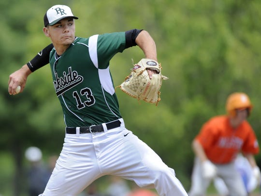 Parkside starter Hunter Parsons delivers against Fallston in the state baseball playoffs in 2014.