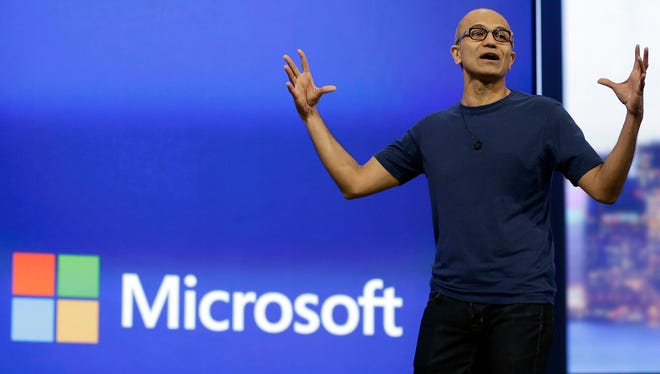 Microsoft CEO Satya Nadella during the keynote address of the Build Conference in San Francisco.
