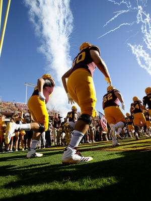 Arizona State players take the field to play Arizona on Nov. 25, 2017, during the 91st Annual Territorial Cup in Tempe, Ariz.