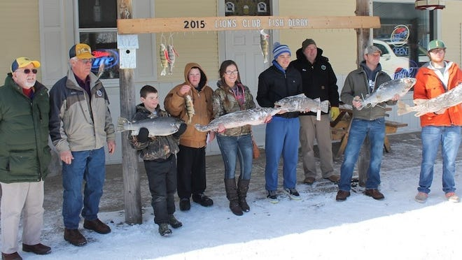 The 38th annual Washington Island Lion's Club Fish Derby was held last weekend. From left, Ham Rutledge and Bill Jorgenson of the Lion's Club, Ryan Jorgenson (first-place salmon/trout category), Michael Cornell (second-place perch), Vesta Davidson (third-place northern pike), Alex Johnson (third-place salmon/trout), Jim Jorgenson (second-place northern pike), Aaron Cornell (second-place salmon/trout) and Hannes Johnson (first-place northern pike). Not pictured: Dennis Young (third-place perch) and Todd Jorgenson (first-place perch).